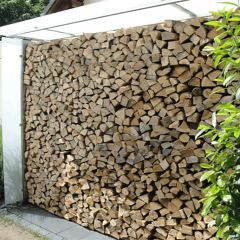Holzunterstand, Seitenteile und Dach aus Milchglasscheiben, Rahmengestell aus Edelstahl
